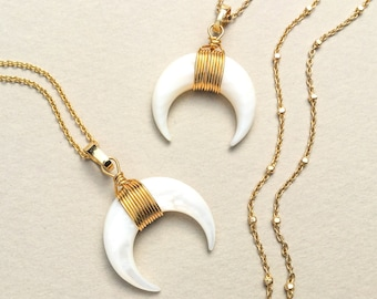White crescent, Moon gold necklace, Double horn necklace, Horn pendant, Crescent necklace, Gift for girlfriend, Boho necklace, Layering