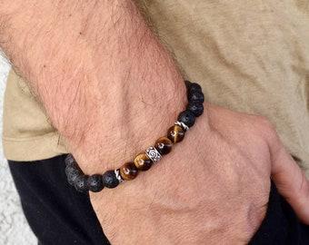 Men's tiger's eye lava bracelet, boho beaded bracelet, yoga mala beaded bracelet, gemstones stretch bracelet, gift for men, Wildcoastjewels