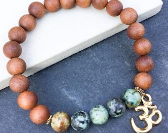 Women's turquoise sandalwood perfumed OM charm bracelet, boho bracelet, yoga mala stretch beaded bracelet, gift for women, Wildcoastjewels