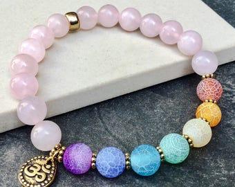 Women's seven chakras rose quartz bracelet, Yoga mala beaded stretch bracelet, 7 stones OM AUM bracelet, Gift for women, WildCoastJewels