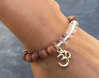 Women's quartz sandalwood perfumed OM charm bracelet, boho bracelet, yoga mala stretch beaded bracelet, gift for women, Wildcoastjewels