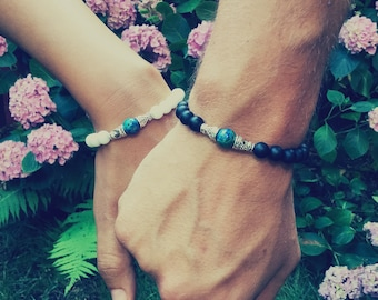 Couple bracelets, 2 love bracelets for him and her, matching couple, long distance relationship, his and hers couple jewelry