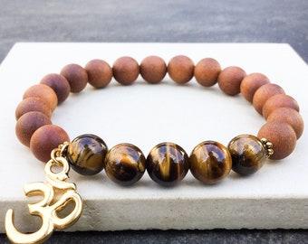 Women's tiger's eye sandalwood perfumed OM charm bracelet, boho bracelet, yoga mala stretch beaded bracelet, gift for women, Wildcoastjewels