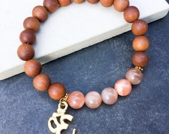 Women's sunstone sandalwood perfumed OM charm bracelet, boho bracelet, yoga mala stretch beaded bracelet, gift for women, Wildcoastjewels