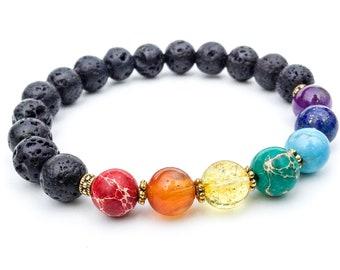 Chakra bracelet, Yoga bracelet, Natural gemstone bracelet, Chakra jewelry, Chakra stones, Mala bracelet, Gift for women, Reiki jewelry