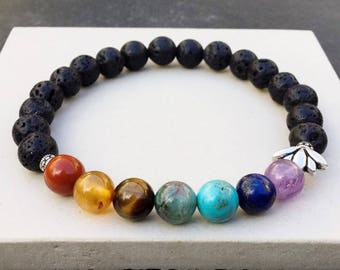 Women's seven chakras bracelet, Yoga mala beaded stretch bracelet, 7 stones black lava bracelet, Gift for women, WildCoastJewels bracelet