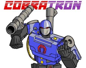CobraTron 11 x 17 inch print. Cobra Commander and Megatron are one! G.I.Joe meets Transformers!