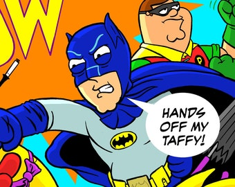 Adam West Tribute 11 x 17 print! Batman '66 & Family Guy Peter Griffin as Robin
