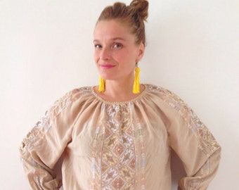 Vintage boho,hippy top,blouse on Silk from the 90s