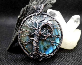 Labradorite tree of life pentacle Pendant, Tree of life jewellery, Yggdrasil, Pagan jewelry, Wiccan jewelry, Witchy gift,