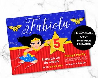 Wonder Woman Invitation.