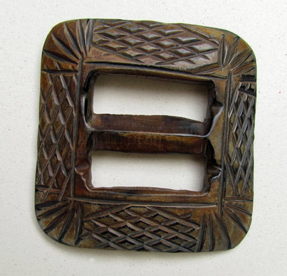 Useful For Fiber Artists Boho Look 2 12 Wide x 2 12 High Scarf Buckle Great Fashion Supply Etched Buffalo Horn Buckle Craftworkers