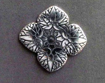 Sterling Silver Hollyhock Leaves Shank Button - B4150SS