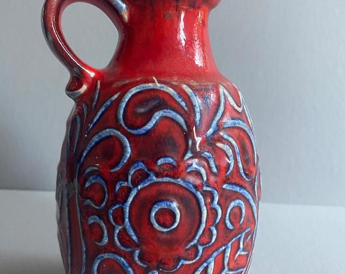 Bodo Mans? LAVA Vase West-Germany BAY KERAMIK Red Embossed Blue White Vintage Mid-Century 1970s Decor