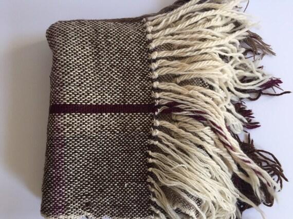 bd7b6b37376a Châle en laine tissée jeter l hiver blanc Aubergine violet marron effiloché  Extra Long longueur 79 »