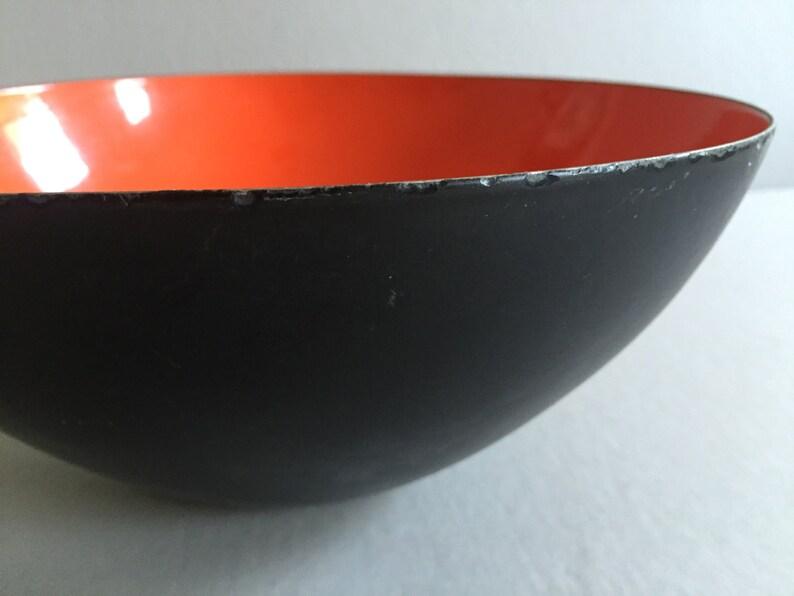 KRENIT Enamel Bowl Matt Black Red Herbert Krenchel Made in Denmark Mid-Century Vintage