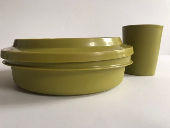 TUPPERWARE Deep Dish Bell Tumbler Avocado Green Made in USA Three Pieces  Vintage 1970s