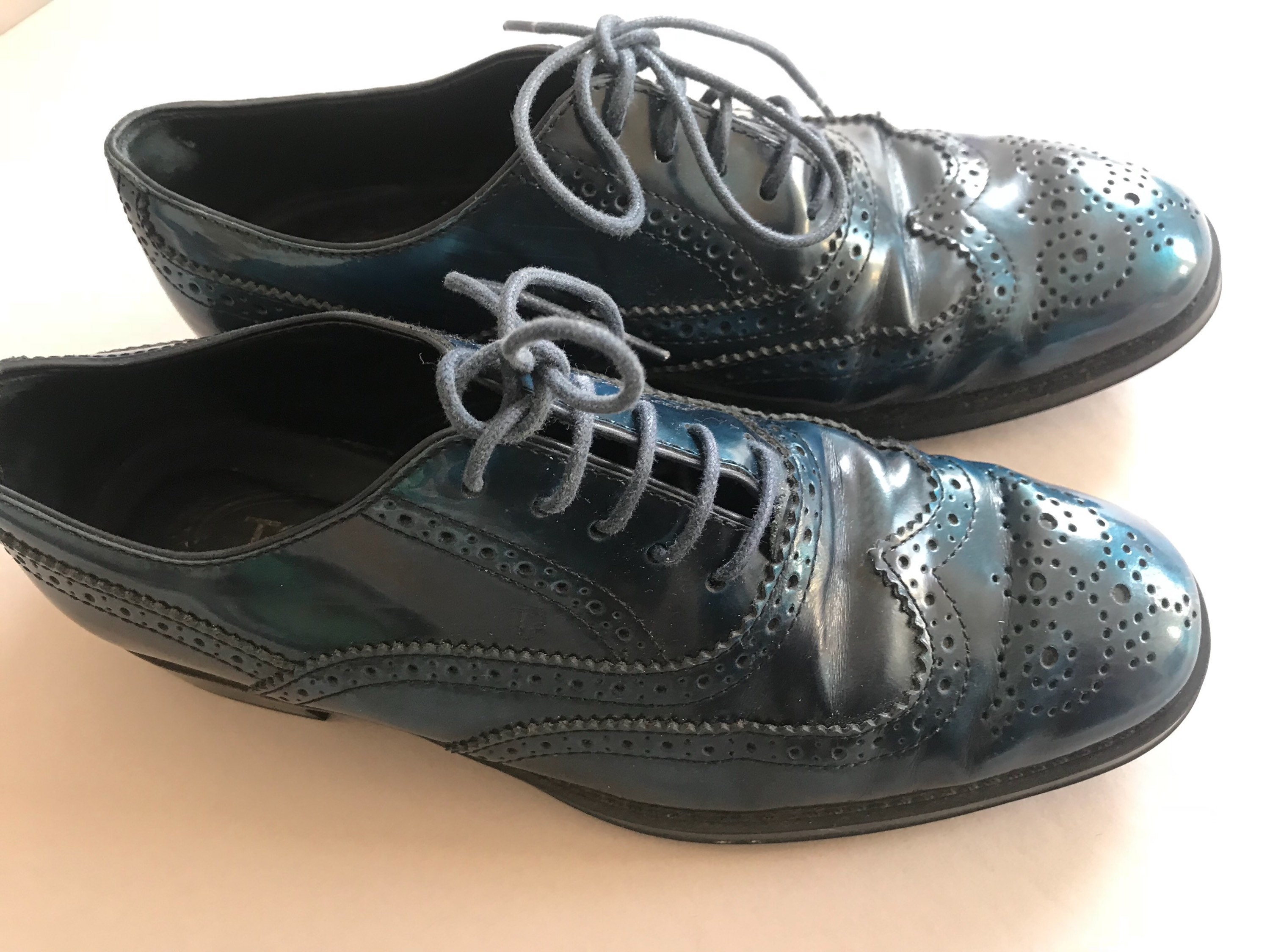 TOD'S Oxford Brogue Metallic Dark Patent Italy Leather Preppy Made in Italy Patent Size European 35 1/2 US 5 1/2  Vintage Italian Shoes 8836a5