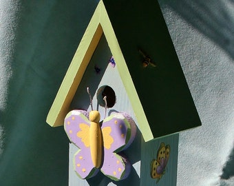 Easter gift ideas etsy bird house butterflies bunnieseaster gift idea or mothers day negle Images