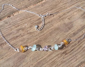 Pastel colored lake Erie beach glass on sterling silver chain