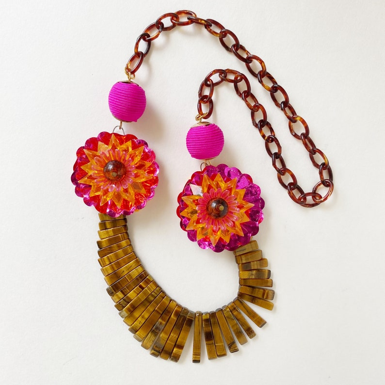 Handmade Necklace With Tigers Eye Lei the Lobster Bib On Me