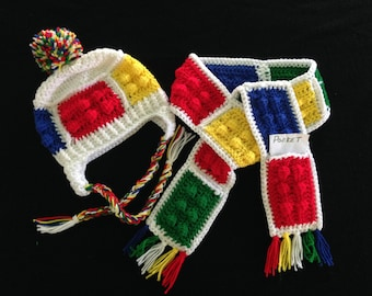Color blocks earflap hat scarf set, Toddler  lego blocks replica hat set, color blocks hat and scarf, Red Green Blue Yellow, Autism color