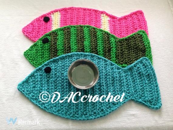 Crochet PATTERN - Fish Placemat Rug; Cat Pet Food Floor Mat; Fish ...