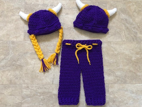 Baby Viking Outfit Minnesota Vikings Purple Color Viking Hat Set Boy Girl Twins Viking Warrior Outfit Baby Viking Costume Photo Prop