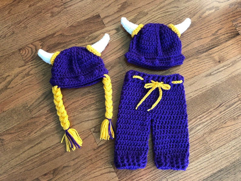 27889d046 Crochet PATTERN - Viking Warrior Baby Outfit, Viking Helmet Hat Pants Set,  Purple Minnesota Vikings Colors, Baby Viking Costume Photo Prop