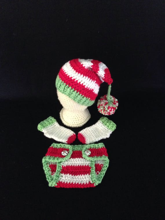 Crochet PATTERN Baby Elf Hat Diaper Cover Outfit Baby Elf  7f6bb8253b49