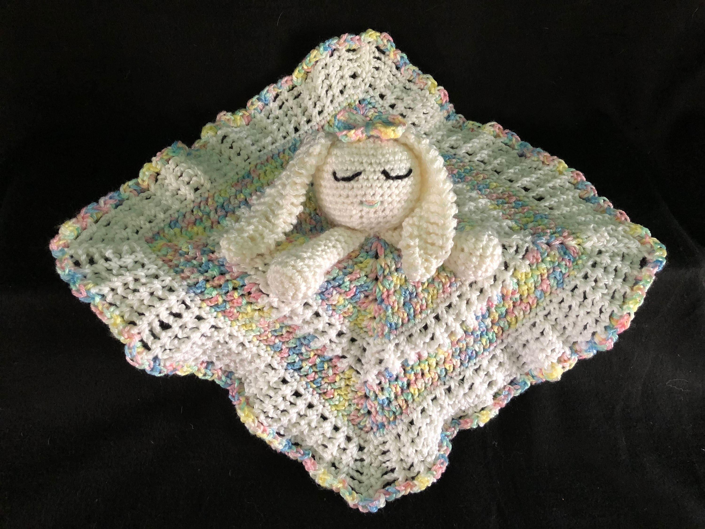 Crochet Pattern Bunny Lovey Baby Blanket Floppy Ear Bunny