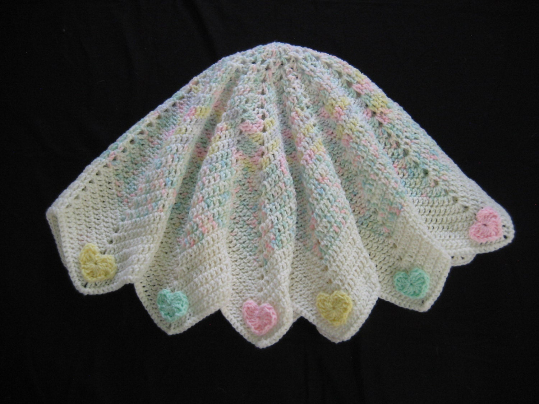 Crochet Pattern Ripple Hearts Blanket Round Star Baby Etsy