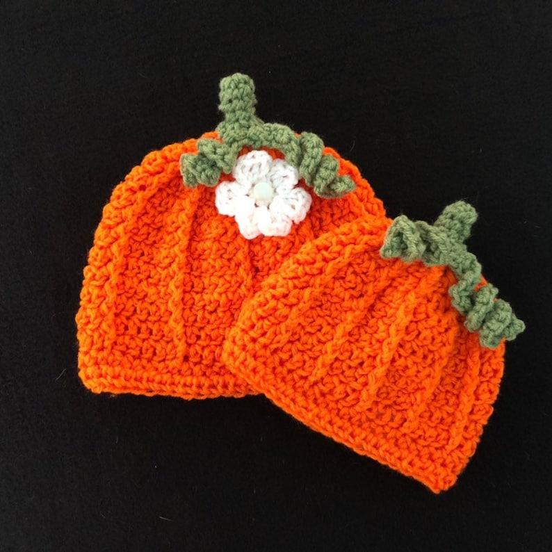 Halloween Jade White Crochet Pumpkin Hat Sizes 0-6 Months To Adult Handmade