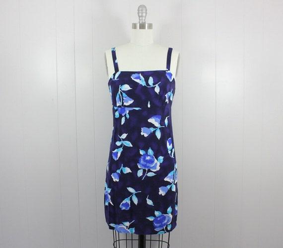 1980s mini dress • blue floral sundress • graphic
