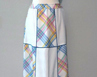 Funky Vintage 1970s Plaid Patchwork Maxi Skirt with Rickrack Trim