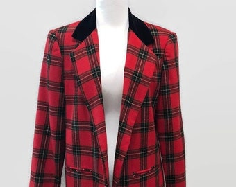 Red Tartan Plaid Vintage Blazer 1980s