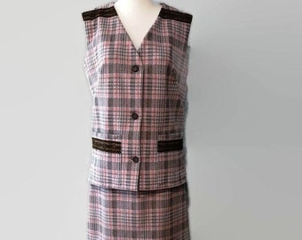 Amazing Two-Piece Plaid Vest and Skirt Set 1970s