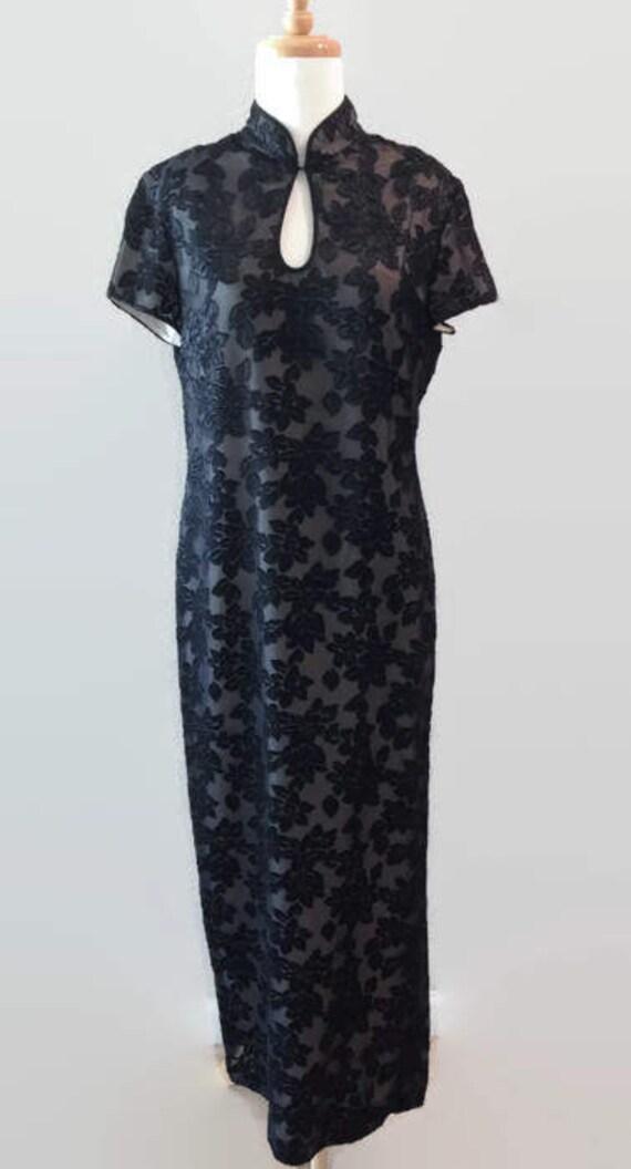 Black Vintage Mandarin Lace Dress 1980s 1990s