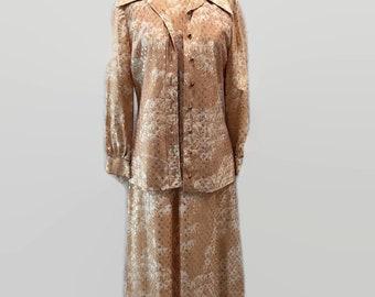 Amazing 70s Two Piece Sleeveless Dress with Metallic Long Sleeve Blouse