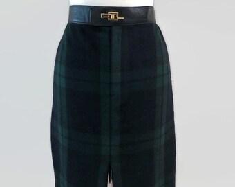 Designer Ralph Lauren Black Label Tartan Plaid Skirt