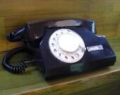 Vintage rotary telephone black and white retro phone dial desk old phone office famous VEF factory Riga Latvija Europa USSR soviet era 1970s
