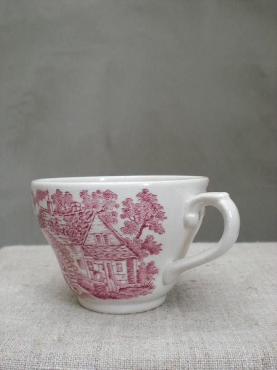 Tee Tasse Teetasse englische Eisenstein rot Transferware | Etsy