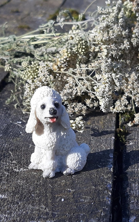 POODLE Gray Dog TiNY FIGURINE Resin MINIATURE Mini COLLECTIBLE Statue show cut