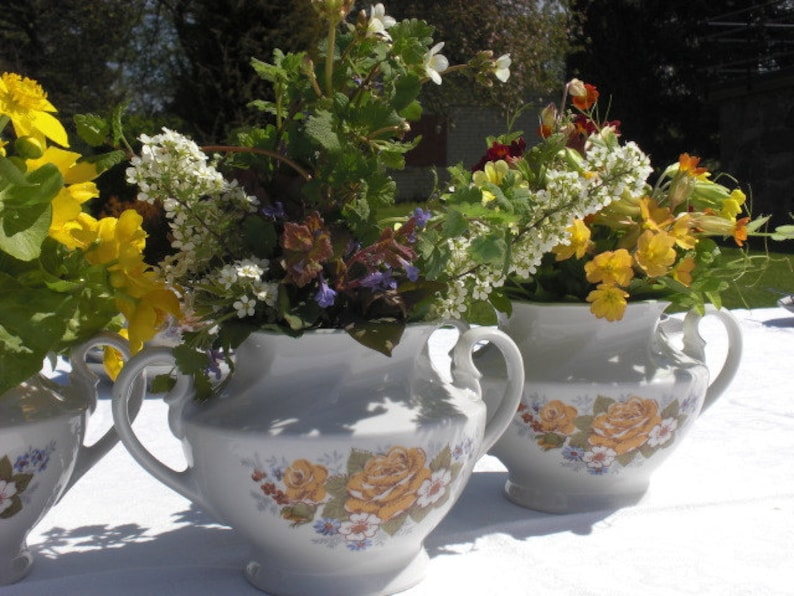 country cottage sugar bowl vintage porcelain china French kitchen style summer tea party table wedding decor Victoria soviet RPF yellow rose