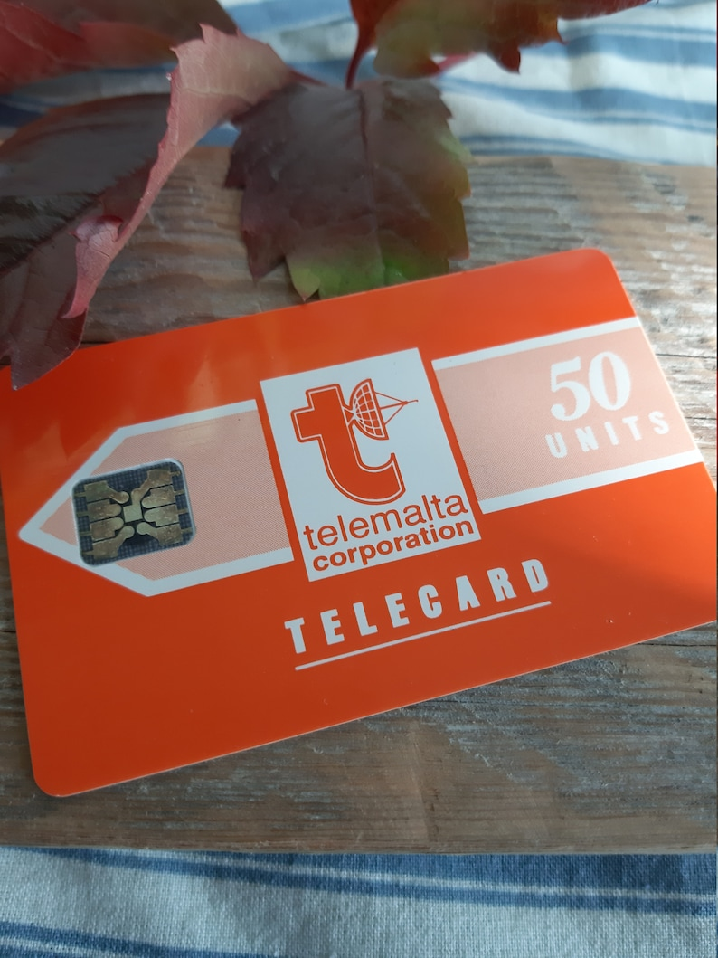 vintage telemalta corporation telephone card phone call card 50 units orange card collectors card collectible back to past old tehnologies