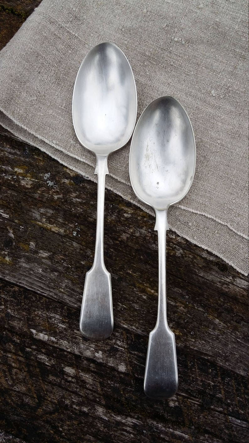 antique large spoon fiddle pattern set old cutlery vintage silverware electro plated nickel silver metal tableware flatware collectible