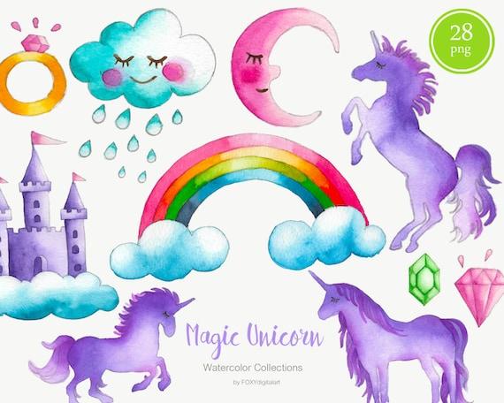 Purple unicorn clipartwatercolor clipart purple flowers | Etsy