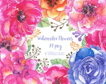 Watercolor Floral Clipart, Watercolor Flowers Clipart, Watercolor Flowers, Watercolor Roses Clipart, Wedding Clipart, Wedding Invitation