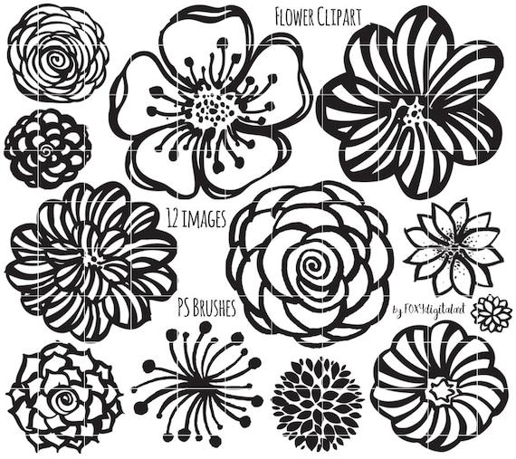flower clipart hand drawn flower outline digital st etsy Floral Design Artwork flower clipart hand drawn flower outline digital st silhouette photoshop brush flower doodles