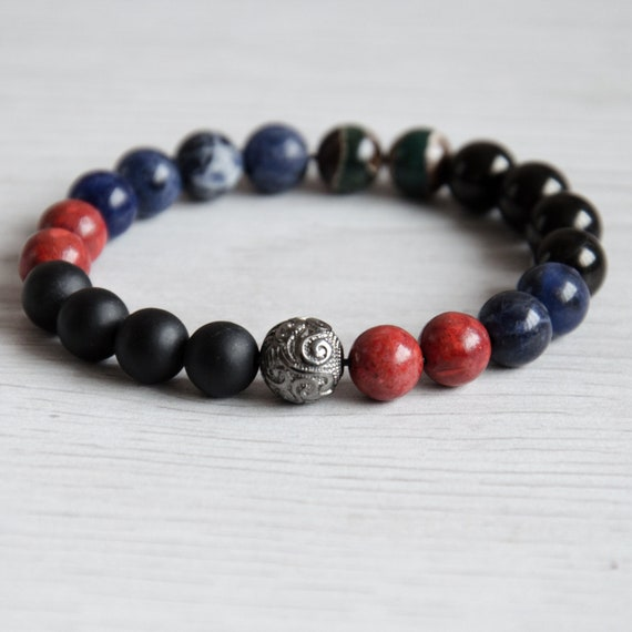 Natural Bead bracelet for woman with shungite, coral, sodalite, and black  silver bead, stretch bracelet girl, Birthday gift ideas